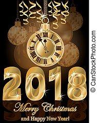 ταπετσαρία , χρυσαφένιος , εικόνα , μικροβιοφορέας , 2018, έτος , καινούργιος , ευτυχισμένος