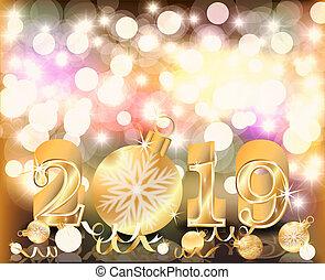 ταπετσαρία , χρυσαφένιος , εικόνα , μικροβιοφορέας , 2019, εύθυμος , έτος , καινούργιος , xριστούγεννα , ευτυχισμένος