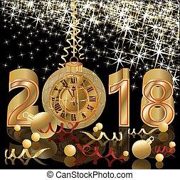 ταπετσαρία , χρυσαφένιος , ρολόι , εικόνα , μικροβιοφορέας , 2018, έτος , καινούργιος , ευτυχισμένος
