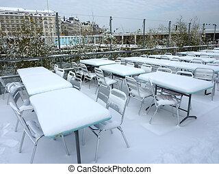 ταράτσα , κάτω από , ο , χιόνι