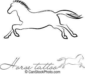 τατουάζ , άλογο , περίγραμμα , ή , ο ενσαρκώμενος λόγος του θεού