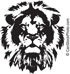τατουάζ , λιοντάρι , μαύρο , κεφάλι