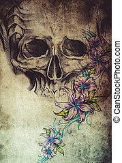 τατουάζ , σχεδιάζω , με , κρανίο , με , λουλούδια , επάνω , κρασί , χαρτί
