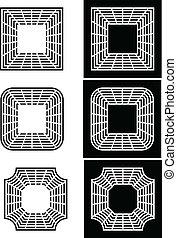 τετράγωνο , έξι , στοιχεία , σχεδιάζω , μαύρο , άσπρο