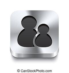 τετράγωνο , δικαίωμα χρήσεως , μέταλλο , κουμπί , - , perspektive, εικόνα