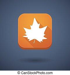 τετράγωνο , μακριά , σκιά , app , κουμπί , με , ένα , φθινόπωρο φύλλο , δέντρο