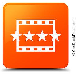 τετράγωνο , ταινία , κουμπί , αναθεώρηση , πορτοκάλι , εικόνα