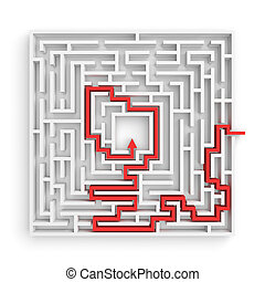 τετράγωνο , φόντο. , εκδήλωση , διάλυμα , απόδοση , arrowed, λαβύρινθος , αγαθός αμυντική γραμμή , κόκκινο , 3d