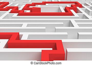τετράγωνο , φόντο. , εκδήλωση , διάλυμα , πάνω , απόδοση , λαβύρινθος , arrowed, κλείνω , άσπρο , 3d , γραμμή , κόκκινο , βλέπω