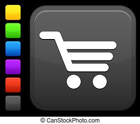 τετράγωνο , ψώνια , κουμπί , κάρο , internet απεικόνιση