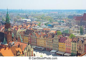 τετράγωνο , wroclaw, γριά , πόλη , αγορά