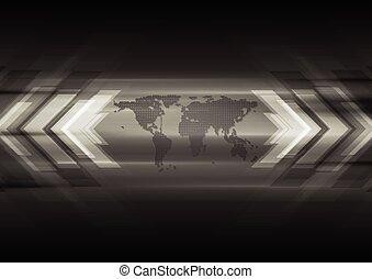 τεχνικός , χάρτηs , σκοτάδι , βέλος , φόντο