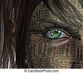 τεχνολογία , ανθρώπινος , με , γη , μάτι