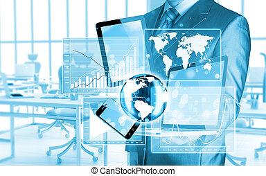 τεχνολογία , μέσα , ο , ανάμιξη , από , businessmen