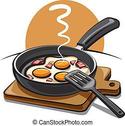 τηγανιτός αβγό , μπέικον
