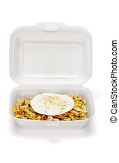 τηγανιτός ρύζι , και , αυγό , μέσα , styrofoam , κουτί