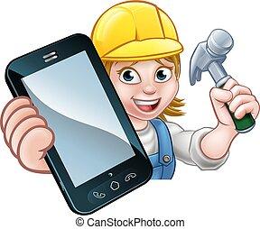 τηλέφωνο , γενική ιδέα , εργάτης κατάλληλος για διάφορες εργασίες , ξυλουργόs