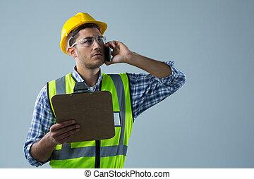 τηλέφωνο , κινητός , λόγια , κράτημα , αρσενικό , clipboard , αρχιτέκτονας