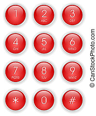 τηλέφωνο , κόκκινο , πληκτρολόγιο