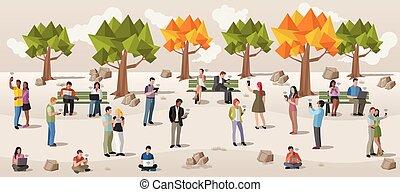 τηλέφωνο , πάρκο , κομψός , άνθρωποι