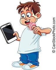 τηλέφωνο , παίξιμο , δισκίο , παιδί
