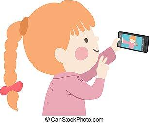 τηλέφωνο , παίρνω , εικόνα , παιδί , κορίτσι , κινητός , εικόνα
