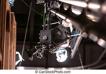 τηλεόραση , γερανός , φωτογραφηκή μηχανή