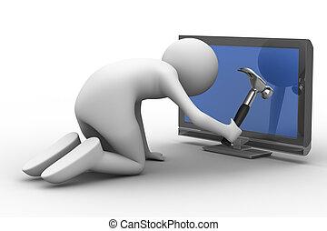 τηλεόραση , εικόνα , service., απομονωμένος , 3d , τεχνικός