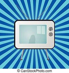 τηλεόραση , μπλε , ξαφνική δυνατή ηλιακή λάμψη , retro