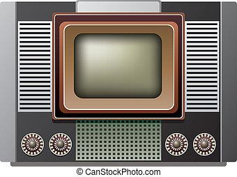 τηλεόραση , retro , εικόνα , θέτω , μικροβιοφορέας , μεγάλος