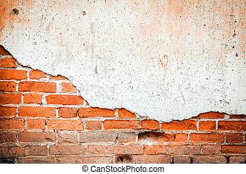 τοίχοs , αφαιρώ , τούβλο , φόντο , textture