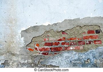 τοίχοs , γριά , καλύπτω με στόκο
