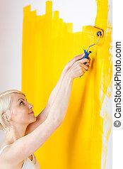τοίχοs , γυναίκα , ζωγραφική , νέος , κίτρινο