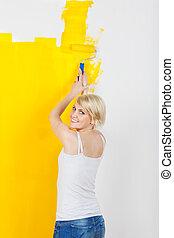 τοίχοs , ευθυμία γυναίκα , ζωγραφική , κίτρινο