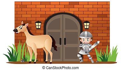 τοίχοs , ιππότης , άλογο , κάστρο