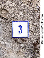 τοίχοs , πέτρα , τρία , γκρί , αριθμόs