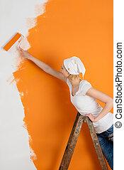 τοίχοs , πορτοκάλι , γυναίκα , ζωγραφική