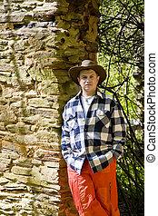 τοίχοs , πορτοκάλι , καρό ύφασμα , άντραs , βράχοs