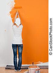 τοίχοs , σπίτι , γυναίκα , ζωγραφική , έλκυστρο