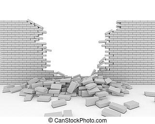 τοίχοs , σπασμένος