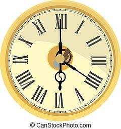 τοίχοs , χρυσαφένιος , ρολόι