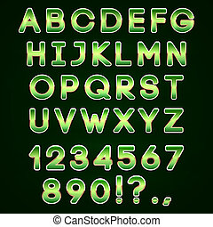 τολμηρός , γράμματα , αλφάβητο , φόντο , μικροβιοφορέας , χρυσαφένιος , πράσινο , νέο , σκοτάδι