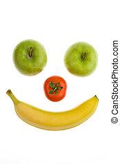 τομάτα , φρούτο , μήλο , smily, μπανάνα