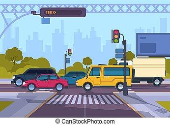 τοπίο , άμαξα αυτοκίνητο , γελοιογραφία , διάβαση πεζών , αστικός , εθνική οδόs , πόλη , αστικόσ δρόμοσ. , crosswalk., πόλη , cityscape , μικροβιοφορέας , κυκλοφορία , εικόνα
