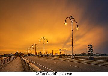 τοπίο , από , μοντέρνος , γέφυρα , σε , ανατολή , putrajaya