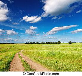 τοπίο , με , άκρη γηπέδου δρόμος