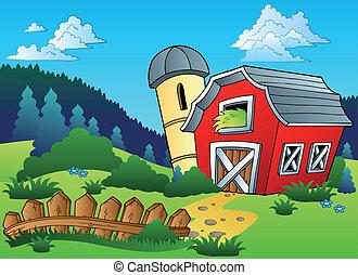 τοπίο , με , αγρόκτημα , και , φράκτηs