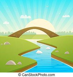 τοπίο , με , βγάζω τα κουκούτσια γέφυρα