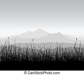 τοπίο , με , γρασίδι , και , βουνά