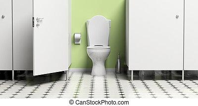 τουαλέτα , πόρτα , θαλαμίσκος , εικόνα , νερό , bowl., άσπρο , ανοίγω , 3d